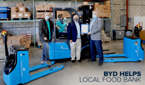 BYD DONATES ELECTRIC FORKLIFT AND PALLET JACKS TO AV'S DREAM CENTER FOOD BANK